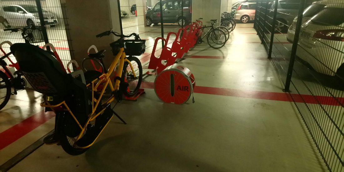 parking à vélos en entreprise avec station de gonflage
