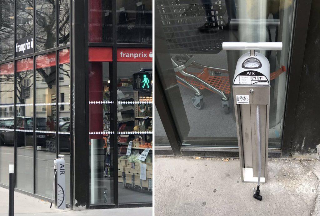 gonfleur vélo en libre-service installé par Franprix