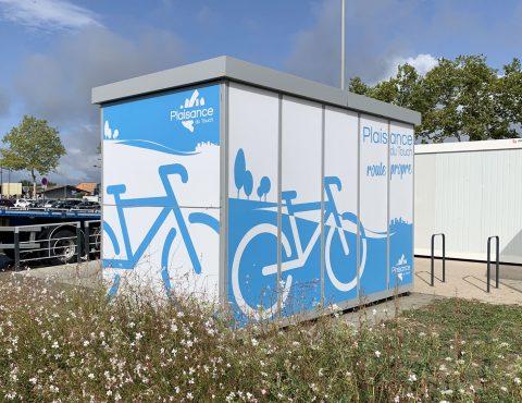 dos de la consigne à vélos ALTAO Duplex de Plaisance du Touch
