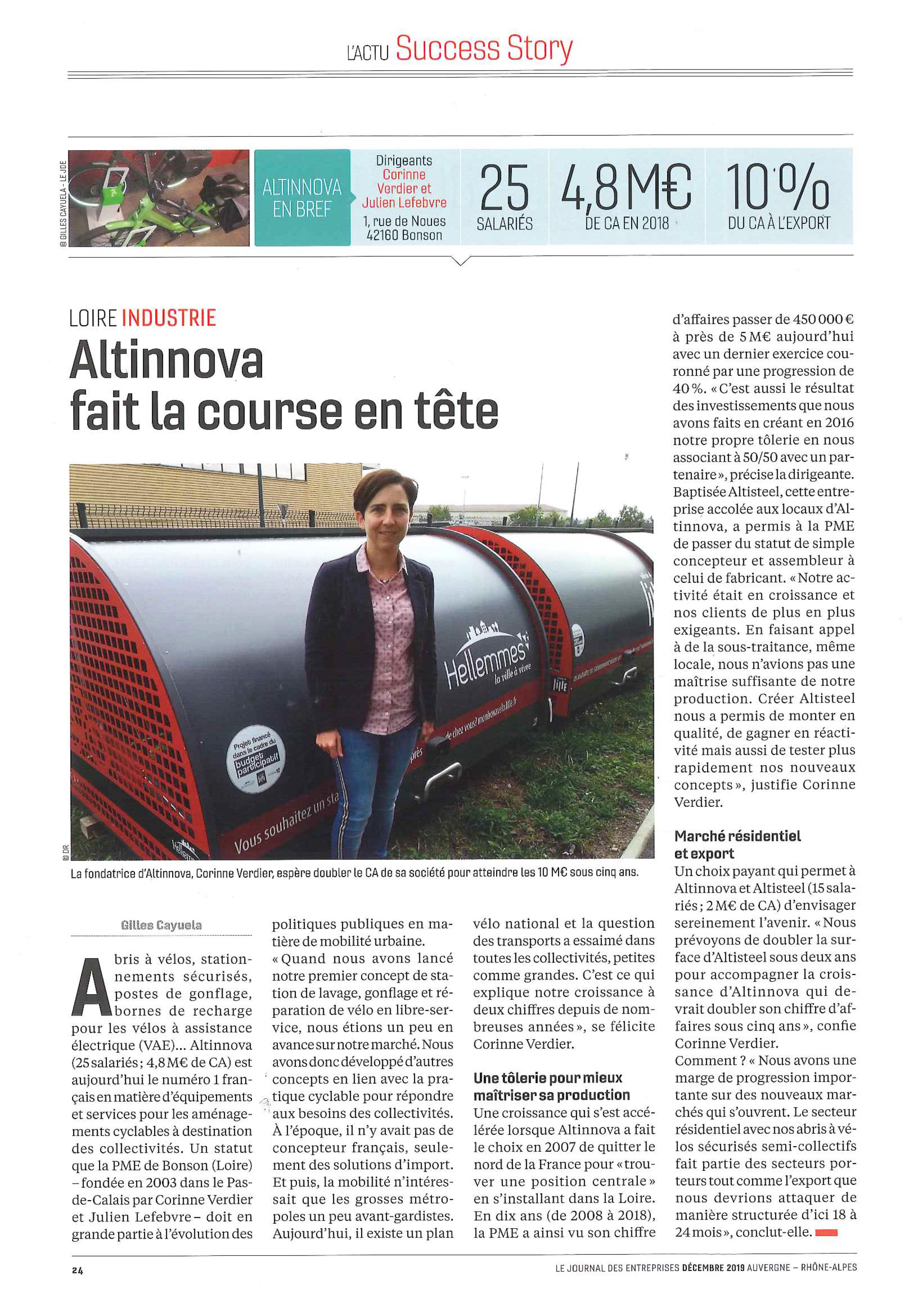 article du Journal Des Entreprises « Altinnova fait la course en tête »