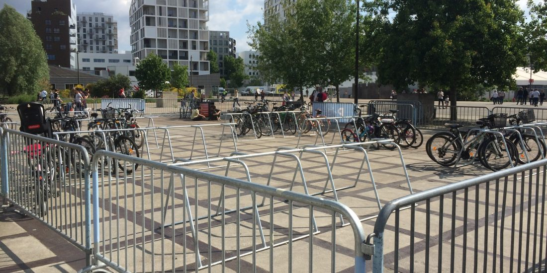 parking éphémère avec des vélos à Nantes