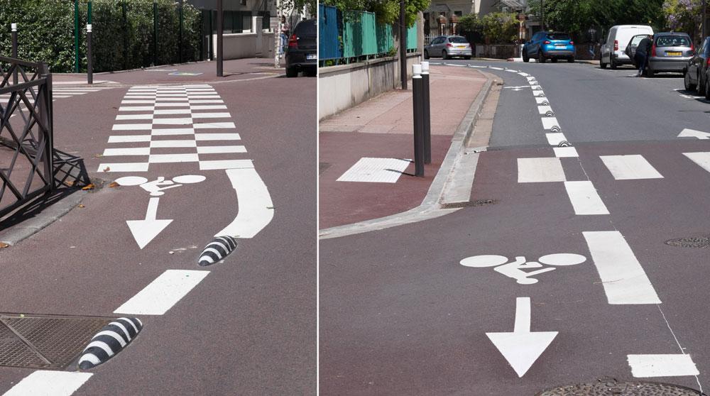 aménagements cyclables temporaires réalisés avec des séparateurs de voies cyclables Zebra