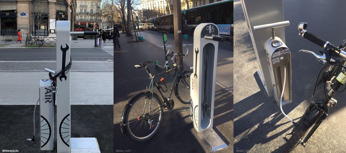 Borne de services vélos en libre-service ALTAO® Fix'Air installée à Paris près de Bastille