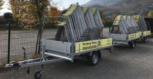 remorque de transport et stockage des parkings vélos provisoires vélos à Grenoble