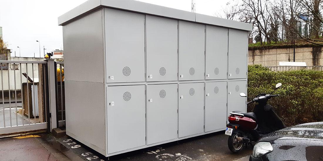 consigne à vélos sécurisée ALTAO Duplex installée sur un parking en Ile de France