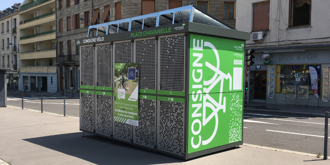 Consigne vélo solaire avec recharge pour vélos électrique