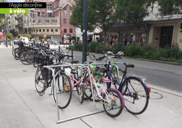 parking vélos provisoire d'Anency avec racks Mobiles