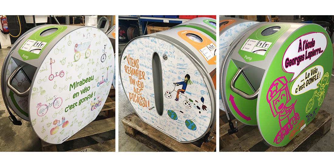 stations de gonflage velo ALTAO Pump personnalisées par les élèves de Tournefeuille