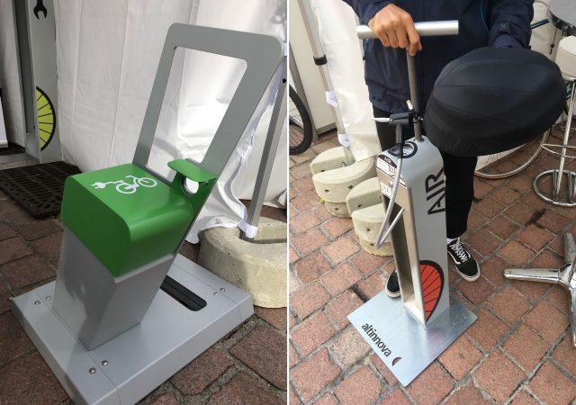 borne de recharge électrique et station de gonflage vélo