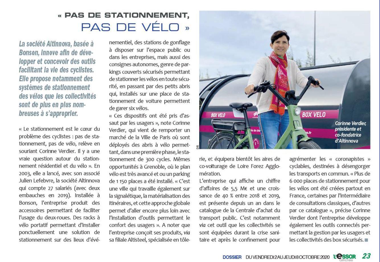 """article de L'Essor : """"Pas de stationnement, pas de vélo"""""""