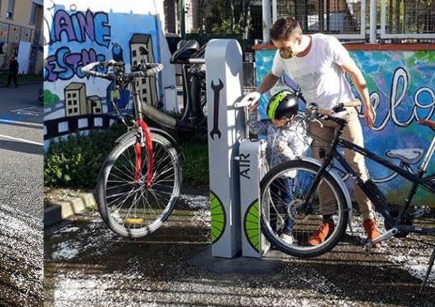 station de réparation et gonflage vélo