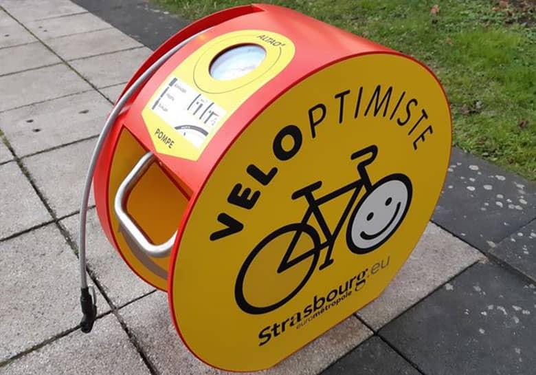 bornes de gonflage vélo installés sur l'Eurométropole de Strasbourg