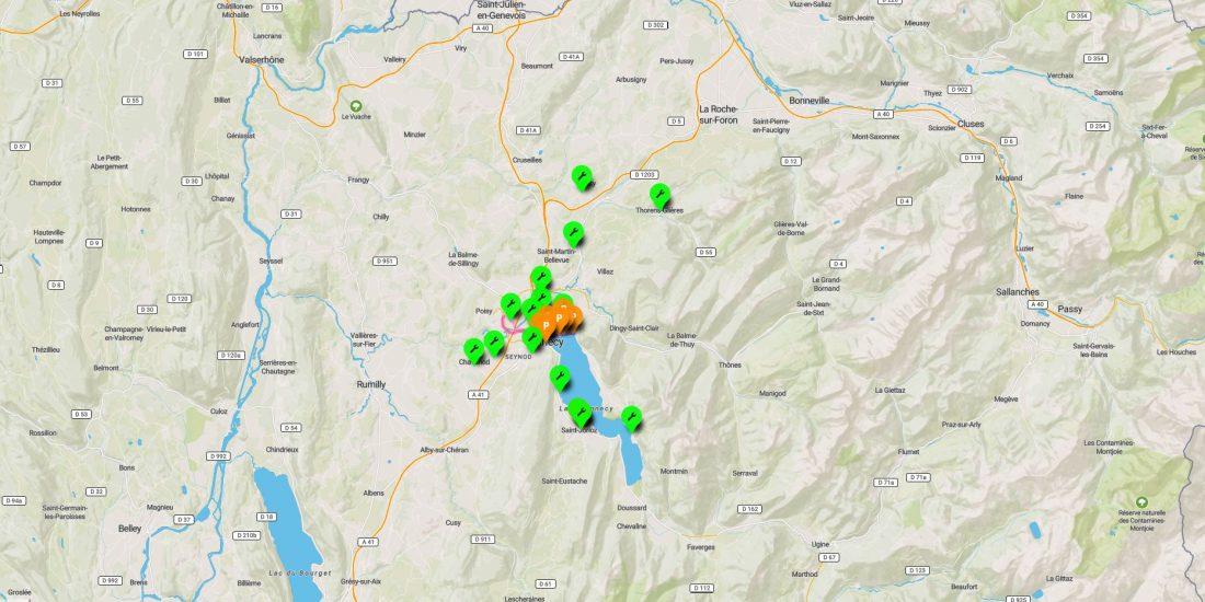 géolocalisation des aires de services vélos autour du lac d'Annecy