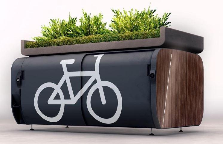 abri vélo d'Altinnova avec toit végétalisé pour New York